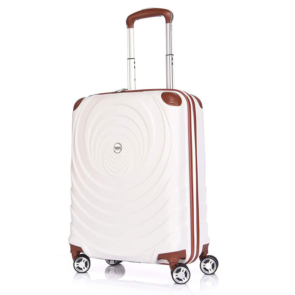verage leichtes handgep ck koffer 55x38x20cm mit erweiterung beige rollkoffer. Black Bedroom Furniture Sets. Home Design Ideas